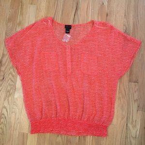NWOT Torrid semi sheer coral striped shirt 0x
